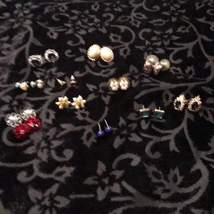 Assortment of 11 pairs of small post earrings